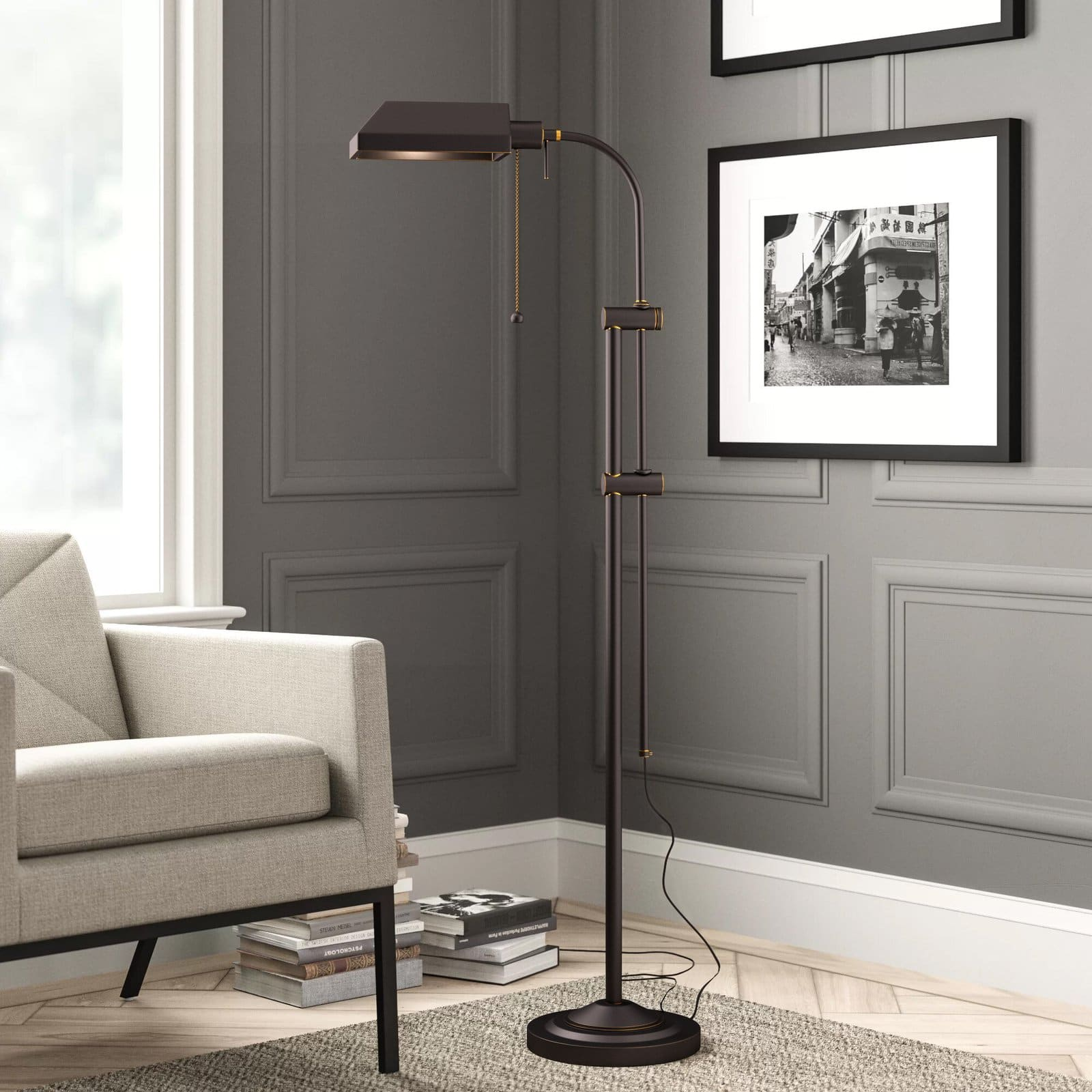 A Black Metal Reading Lamp for a Masculine Feel