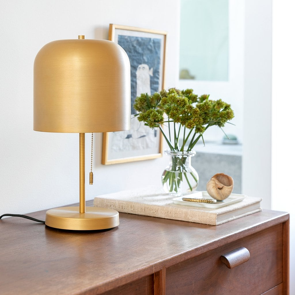 Add Some Mid Century Charm With a Gold Mushroom Lamp