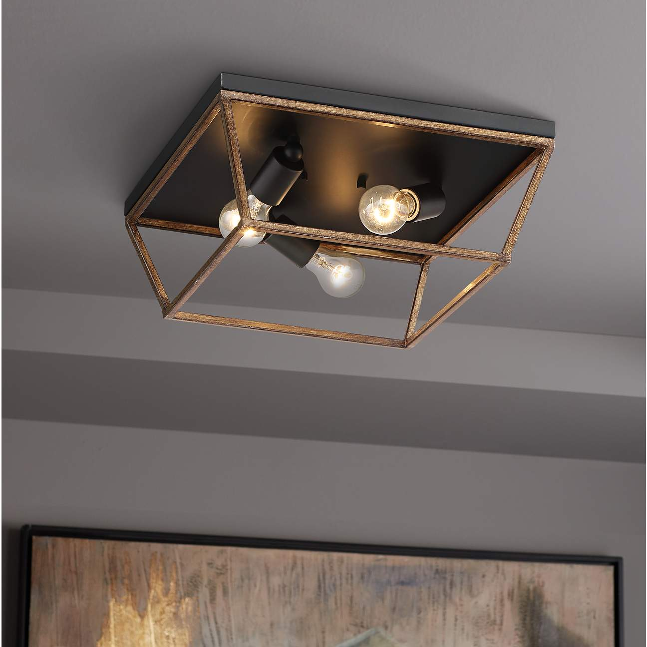 Go Industrial With A Geometric Flushmount Light