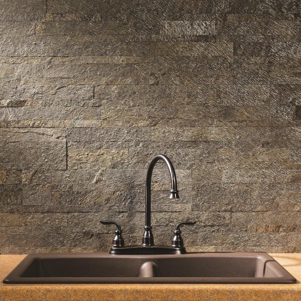 Mossy Stone Inspired Rustic Kitchen Backsplash