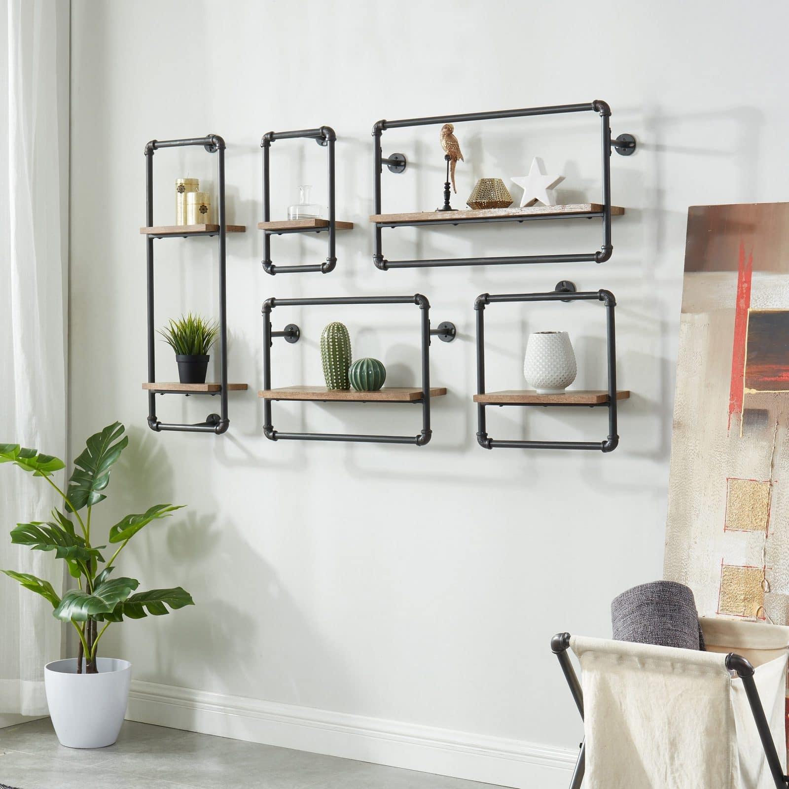 Industrial Wall Pipe Shelf Set