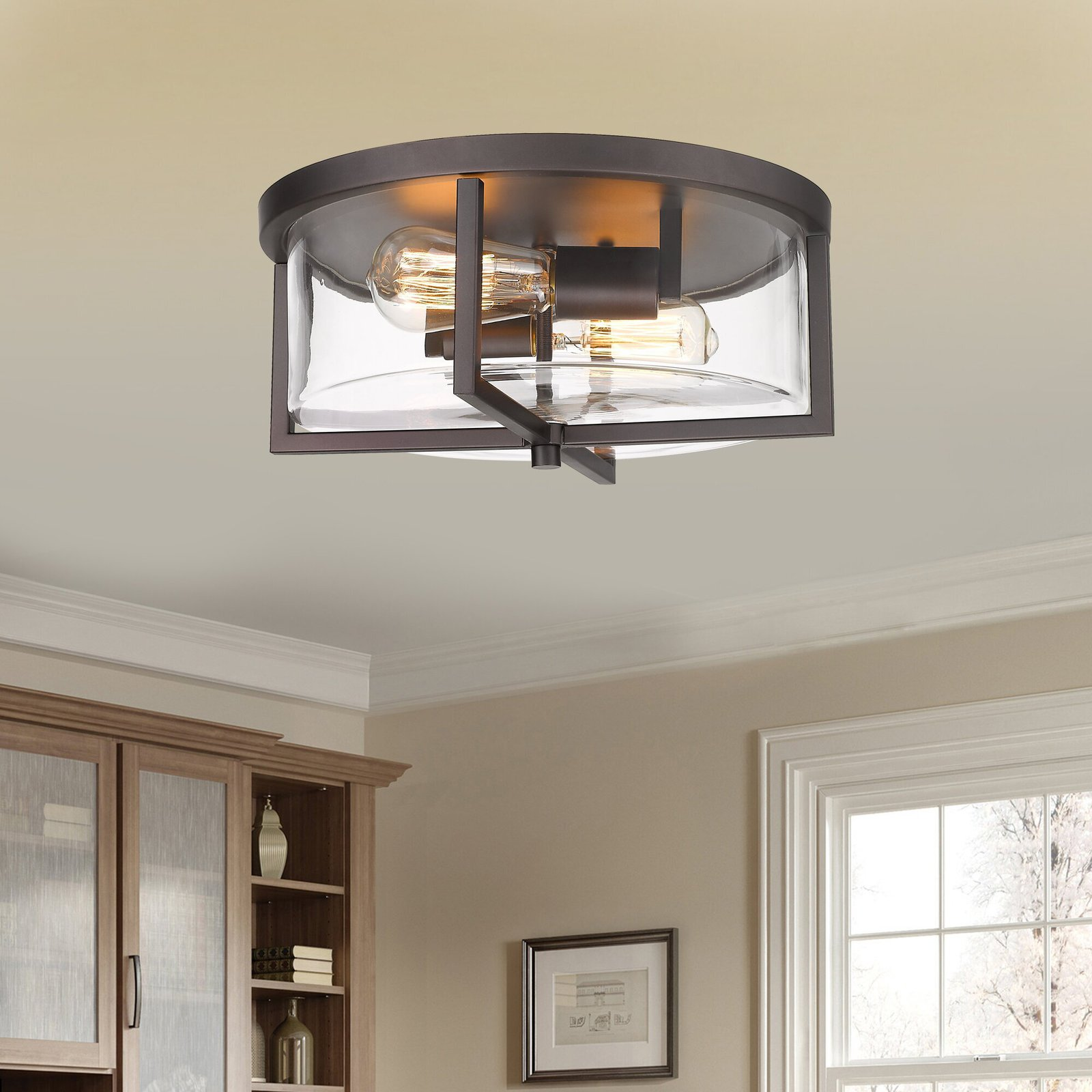 Simple Flush Mount LED Drum Light for Small Kitchen Spaces