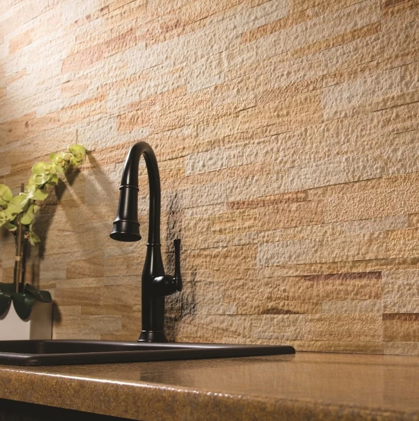 Use this Sandstone to Create a Warm-Toned Kitchen Backsplash
