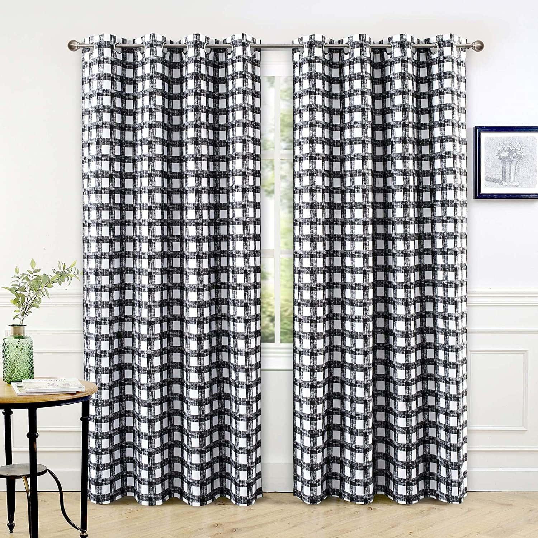 Black and White Plaid Curtains