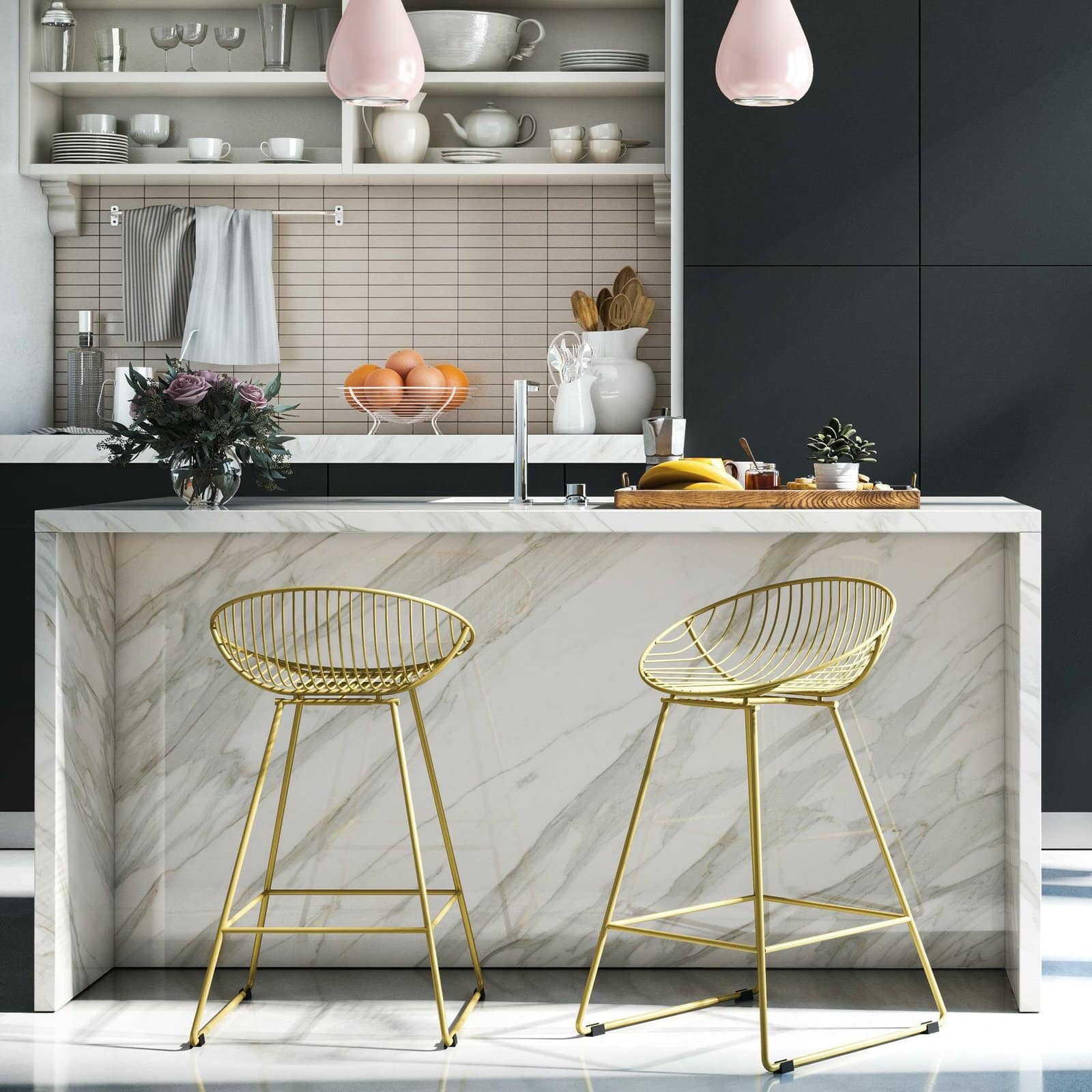 Elevate your Kitchen with Brushed Gold Wire Kitchen Island Bar Stools