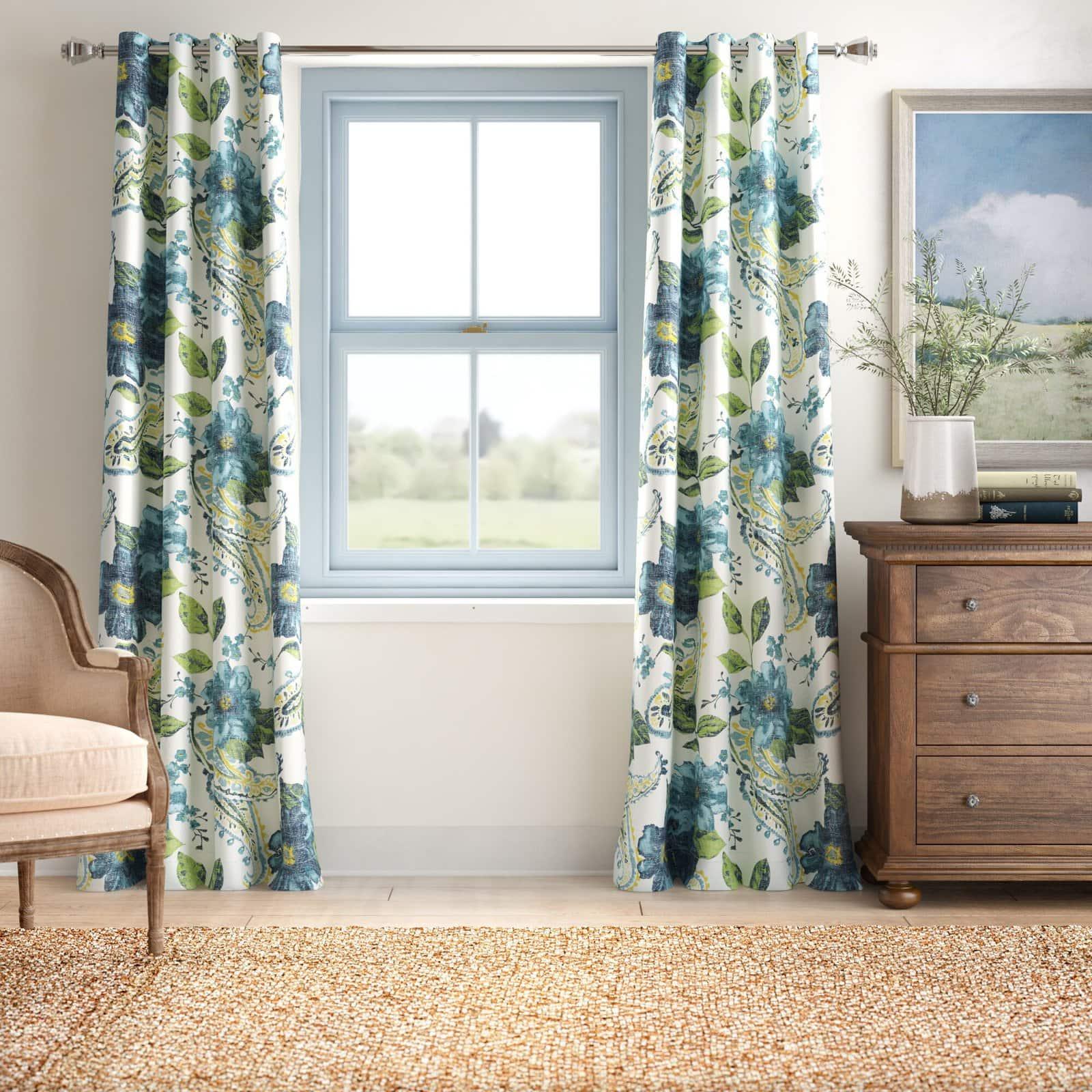 Floral Room Darkening Curtains