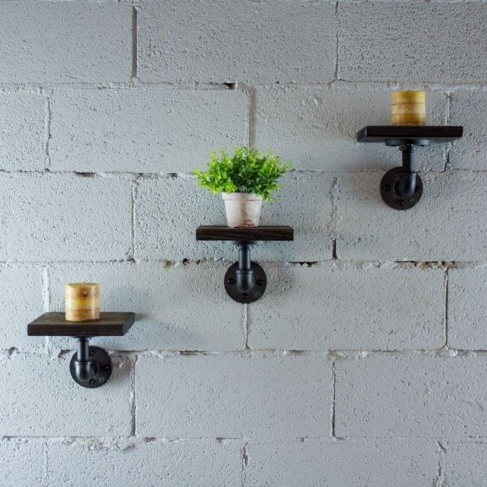 Industrial Pipe Wall Shelf Set