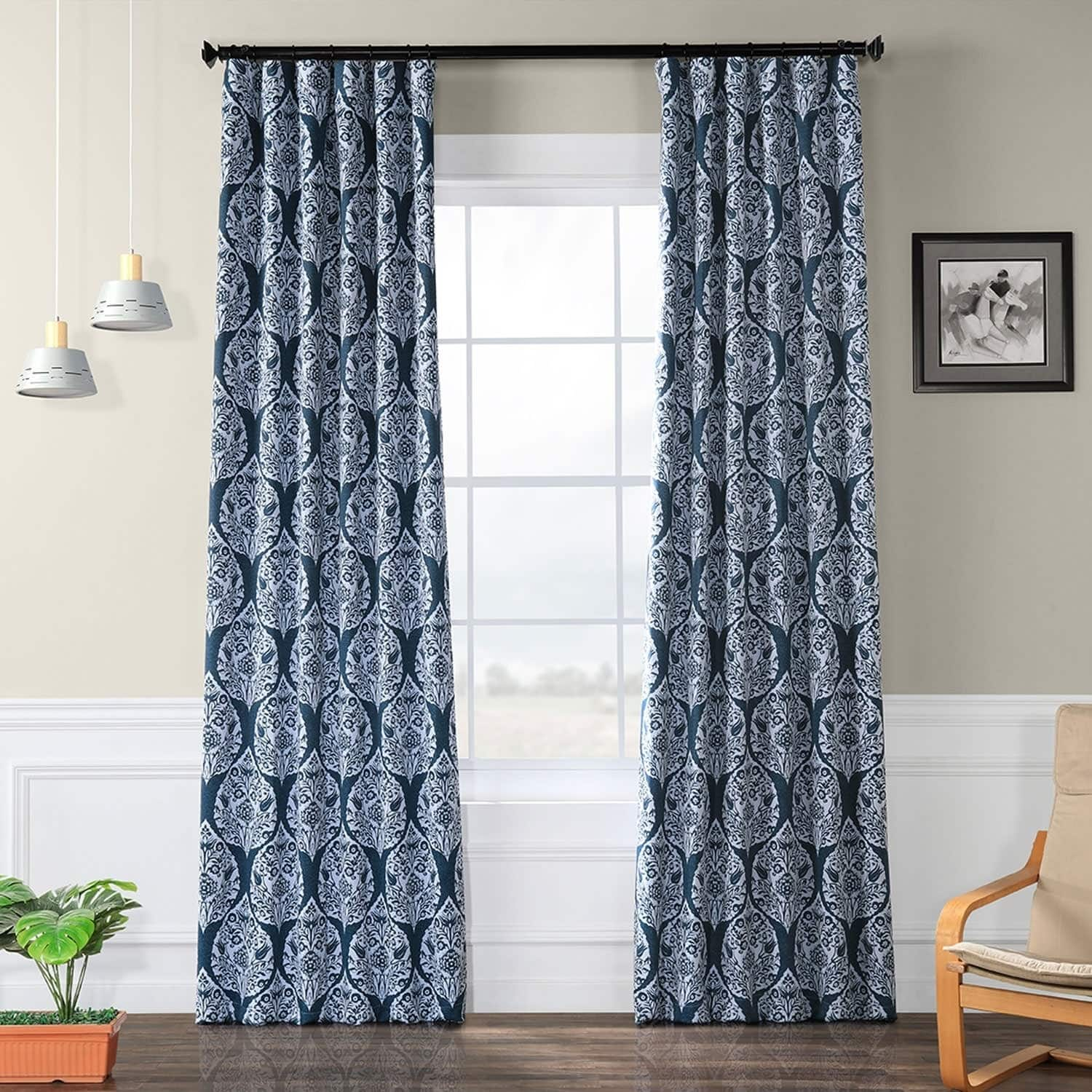 Navy Blue and White Patterned Curtains