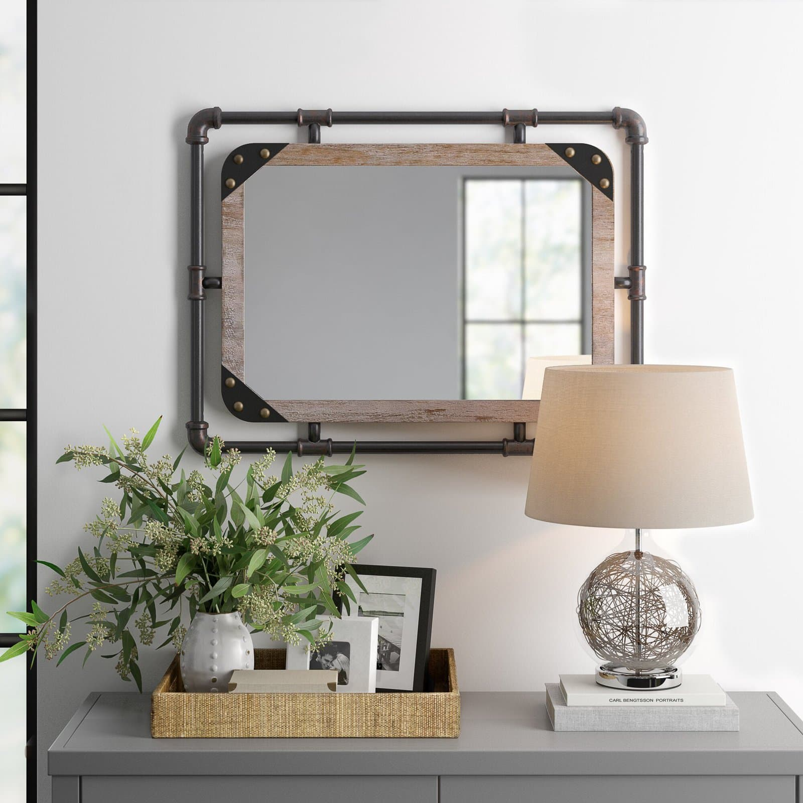 Wood and Metal Industrial Wall Mirror