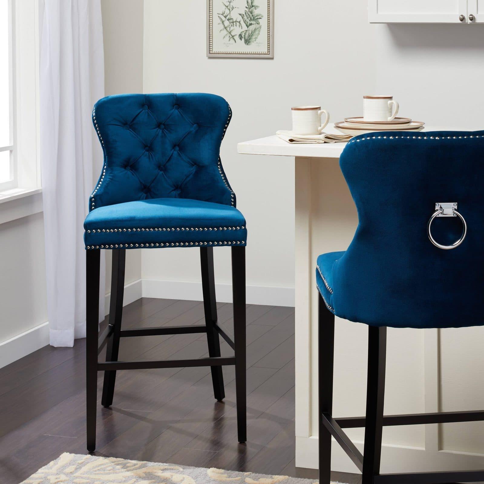 Glam Blue Velvet High Chairs for Kitchen Islands
