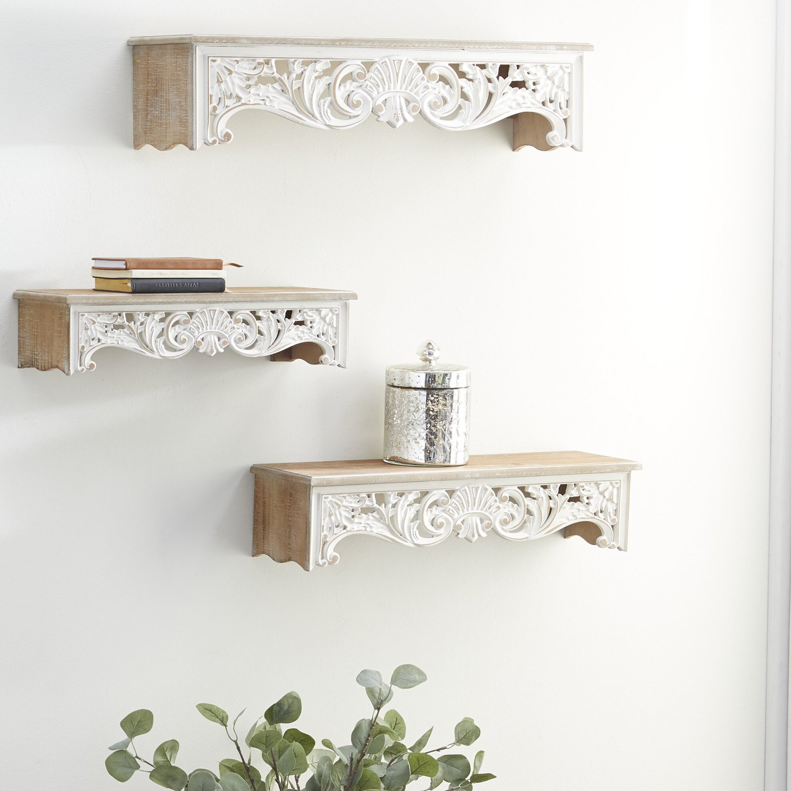 Intricate Carved Wooden Shelves