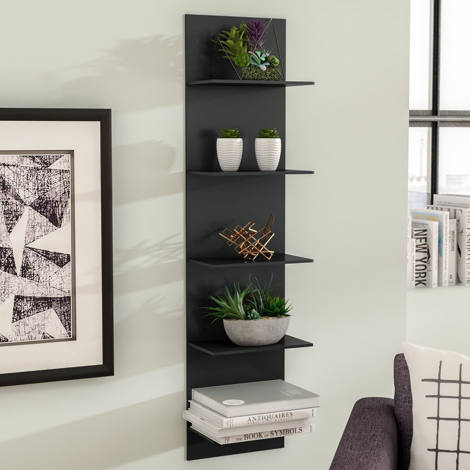 Chic Narrow Black Wall Shelf