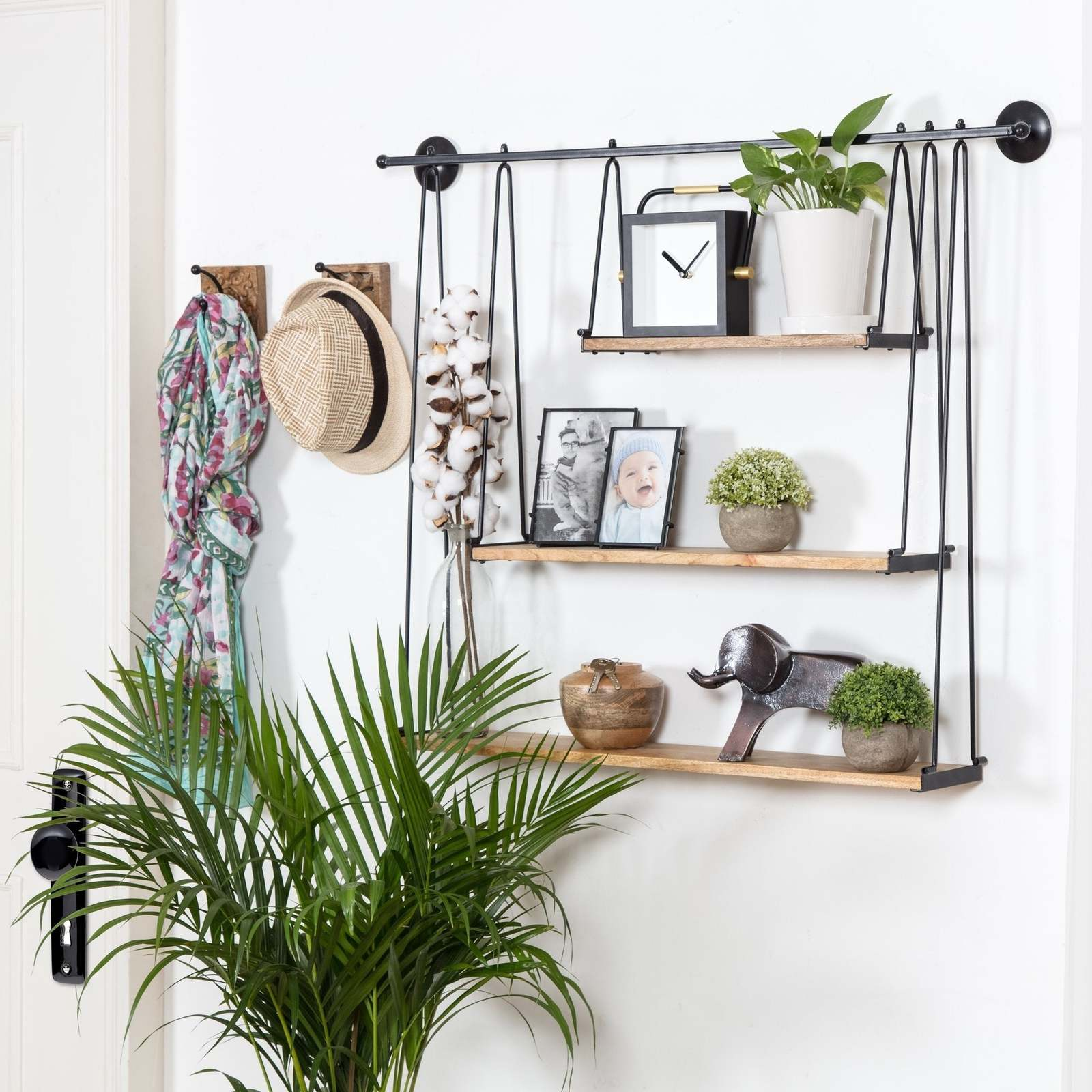 Three-Tiered Suspended Wall Shelf