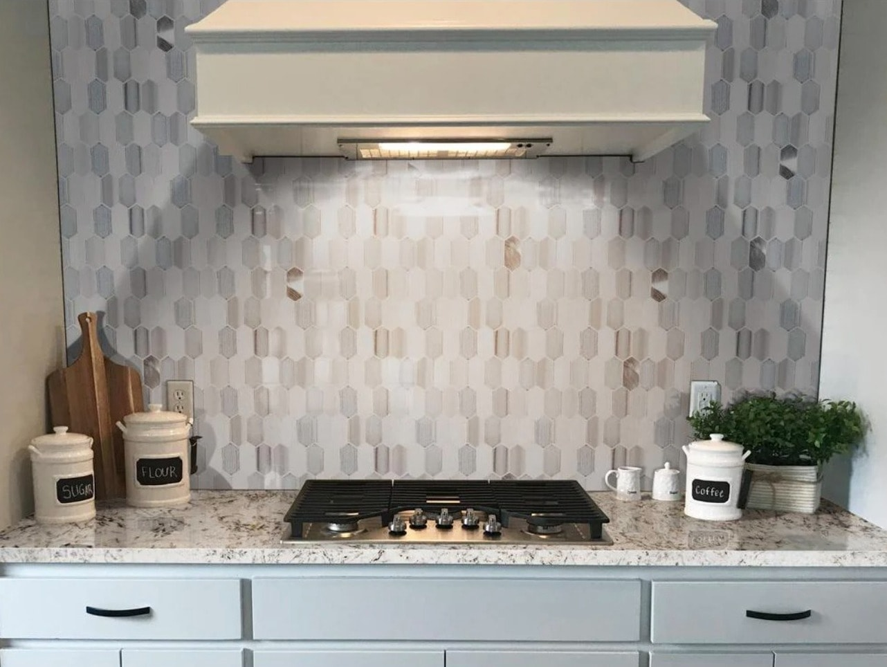 Blend Modern and Rustic with this Neutral Geometric Tile Backsplash