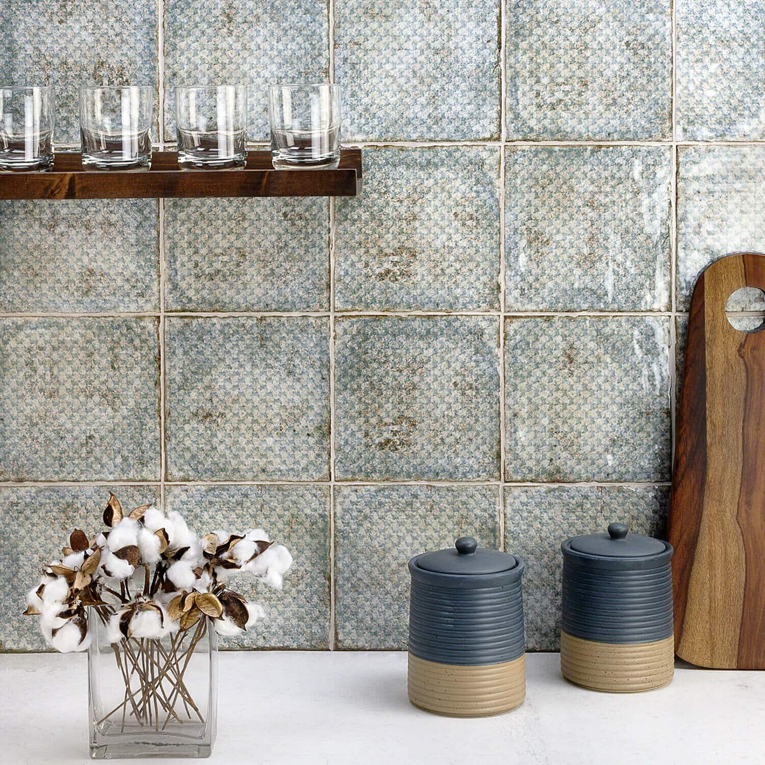 Add a little Color with these Blue Textured Tiles