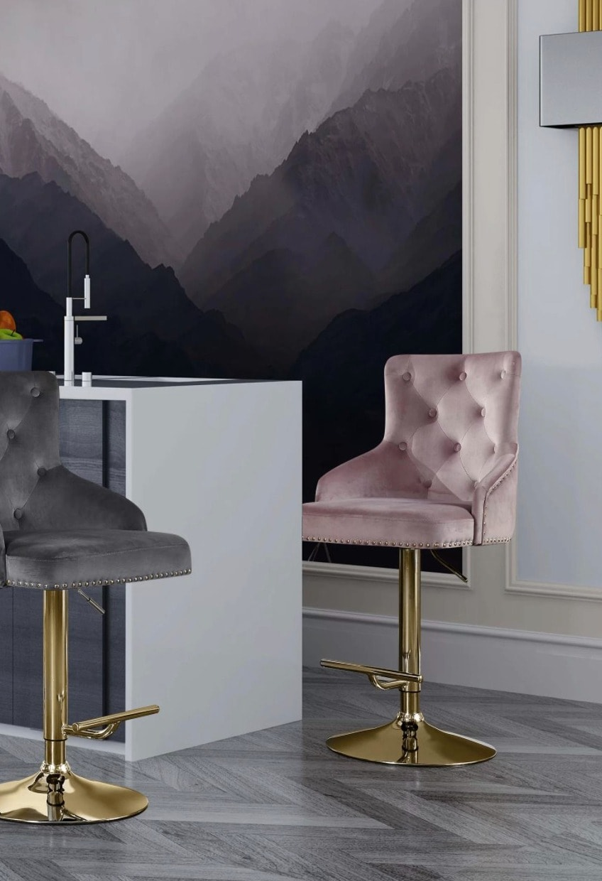 Add some Personality with Plush Pink Swivel Bar Stools