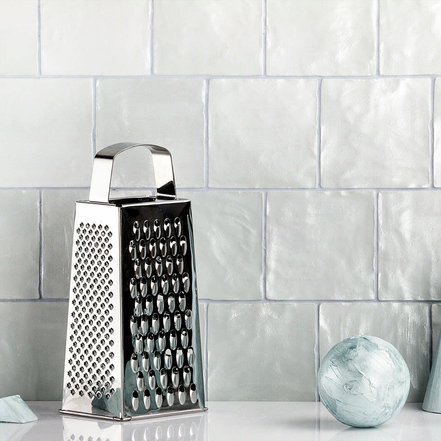 Add a Subtle Rustic Hint with this Light Grey Backsplash Tile