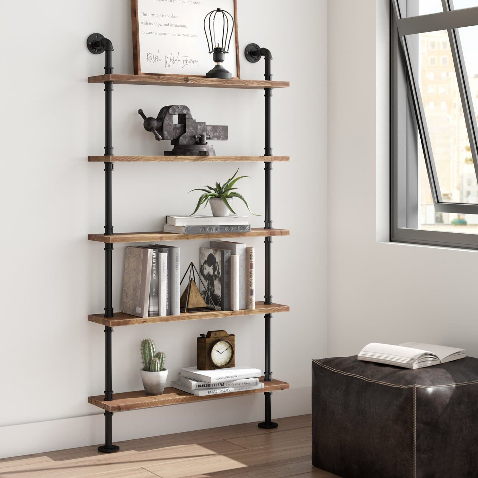 Industrial Pipe Wall Shelving