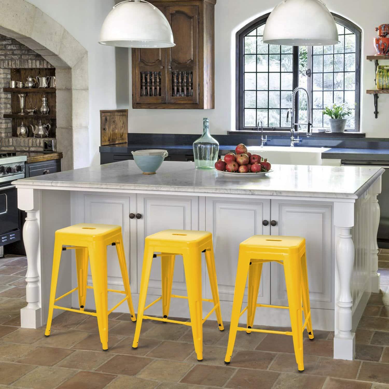 Add some Colour to your Space with these Yellow Kitchen Island Bar Stools