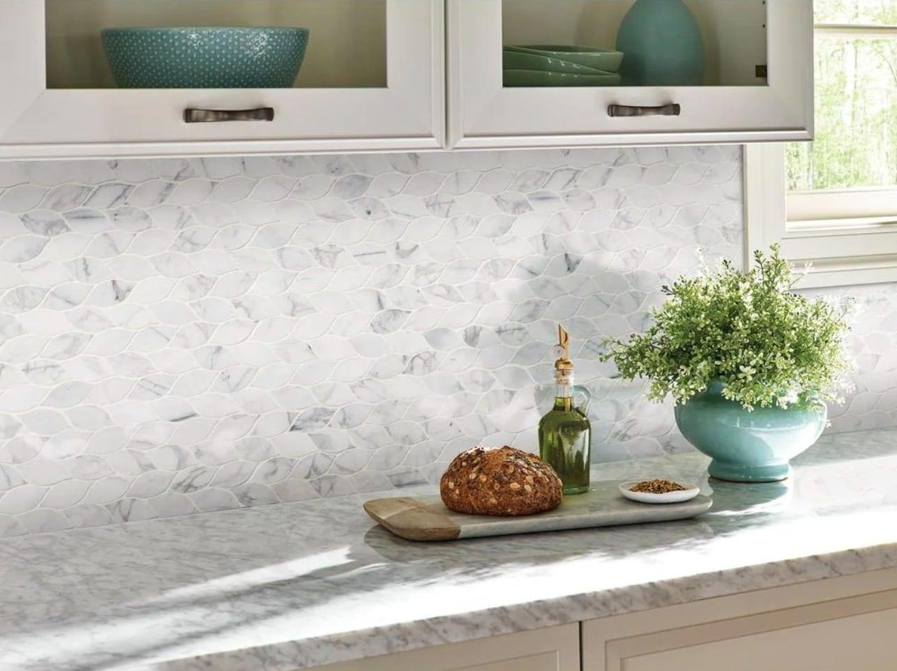 Choose Rustic Shapes with Modern Materials for a Natural Backsplash