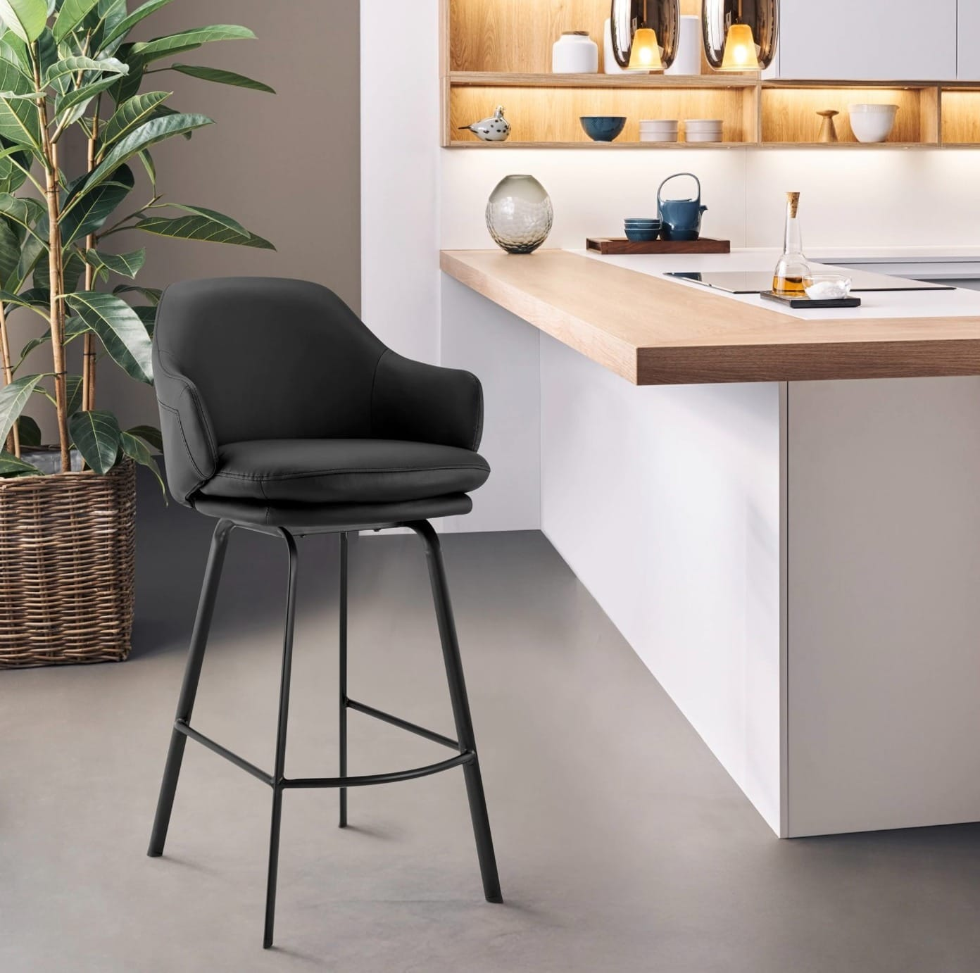 Add Some Luxury with these Faux Leather Counter Stools with Backs