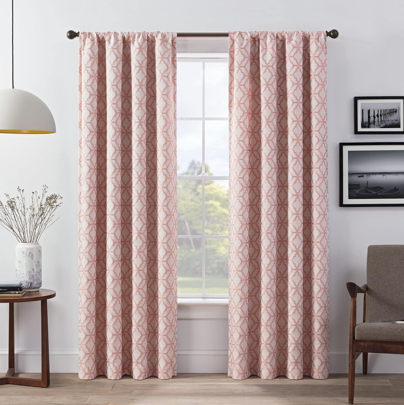Coral and White Patterned Thermal Curtains