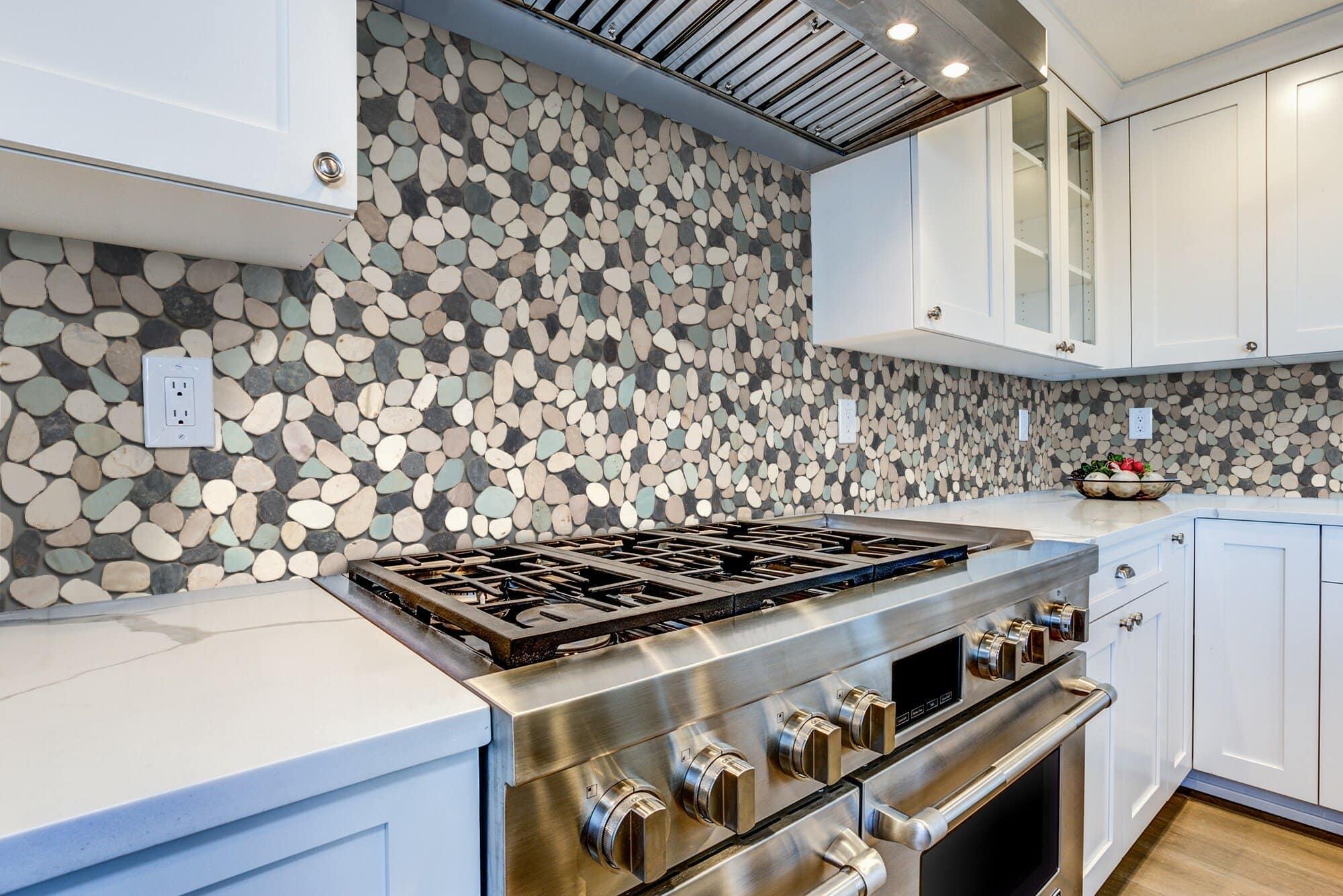 Use Pebble Tiles to Create a Rustic Kitchen Backsplash