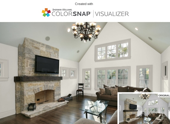 1 Living Room in Alabaster White by Sherwin Williams