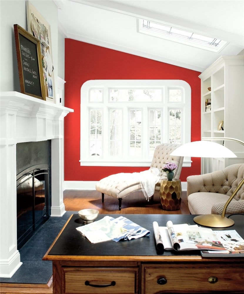 10 Office Accent wall in Million Dollar Red by Benjamin Moore