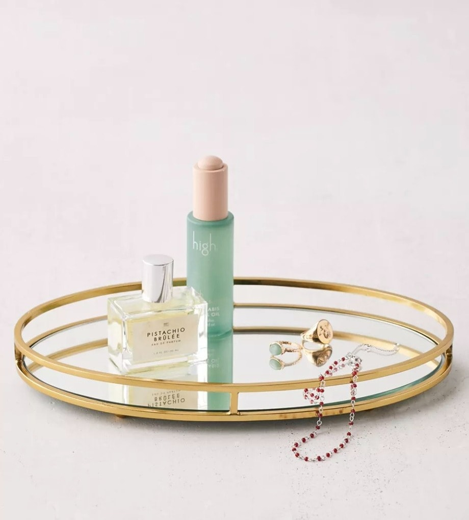 Add some Glam With an Oval Mirrored Tray