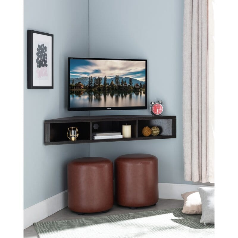 Floating Corner Flat Screen Tv Stand for a Clear Space