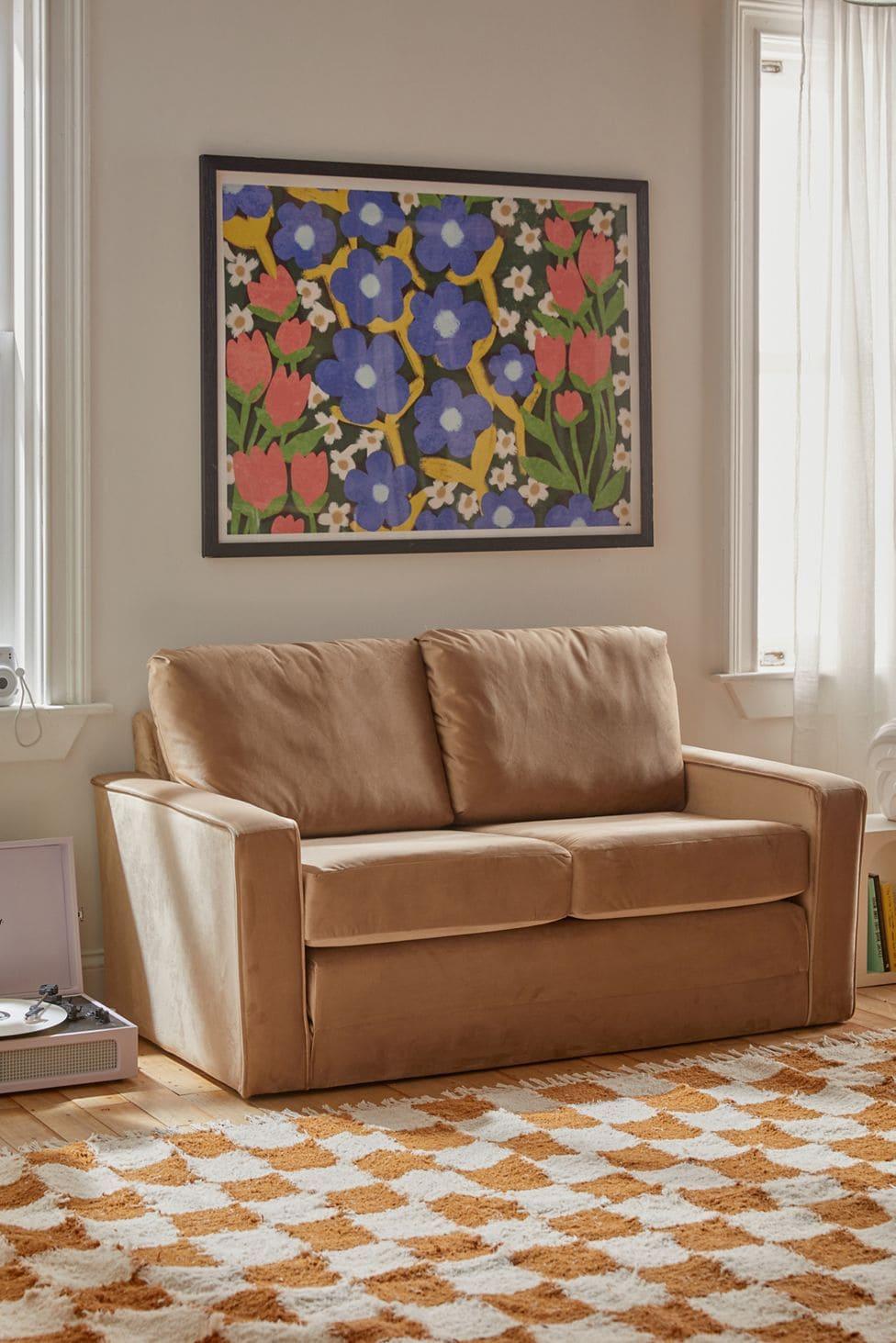 Small Velvet Sleeper Sofa