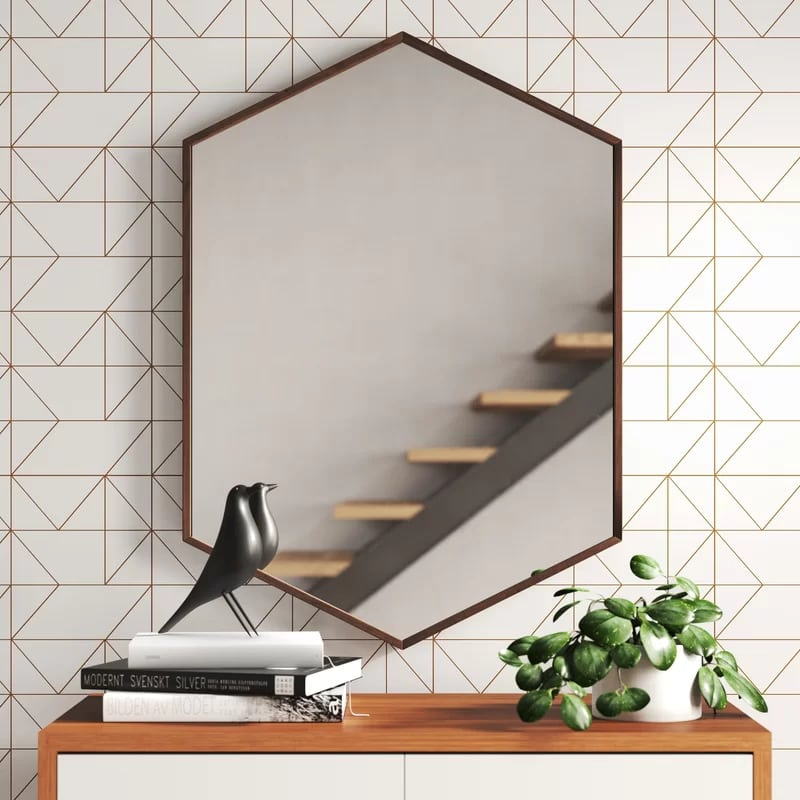 Use a Hexagon Mirror for a Subtle Modern Touch