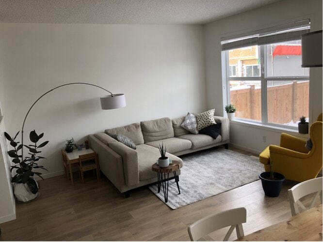 Mid Century Grey and Brown Living Room With Accent Colors