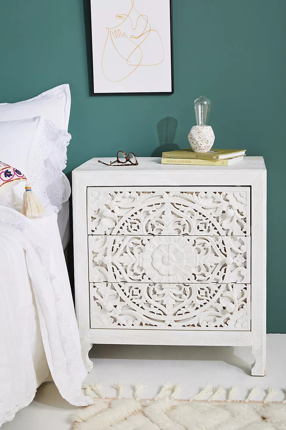 Add an Artsy Flair With a Carved Nightstand