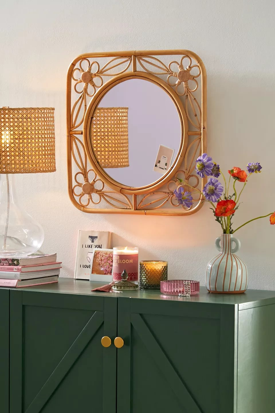 Use a Floral Wall Mirror for a Natural Look