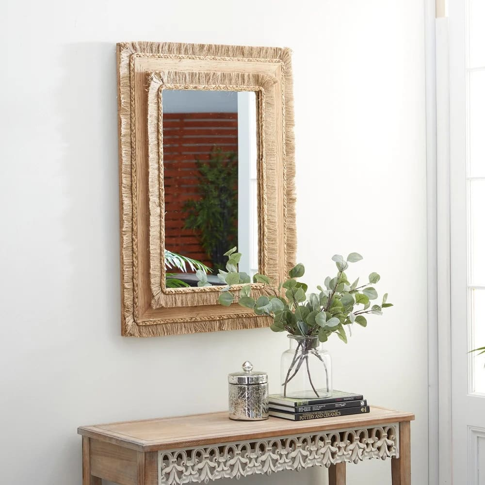 Use a Wicker Mirror for a Bohemian Look