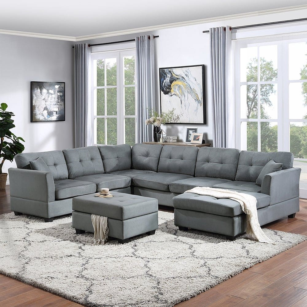 All Grey Living Room With Brown Wooden Floors