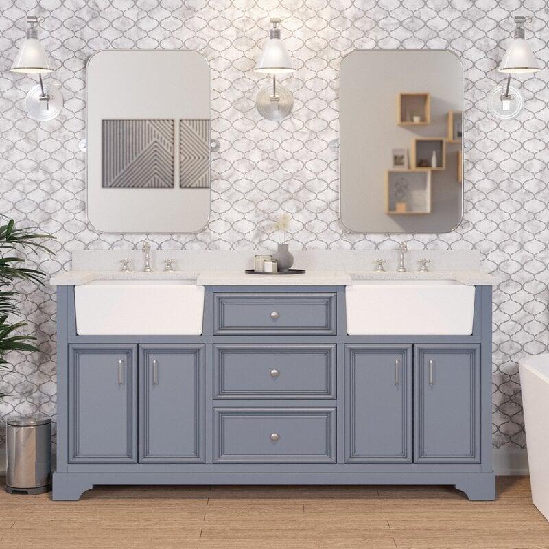 Go Large and Bold for Farmhouse Bathrooms