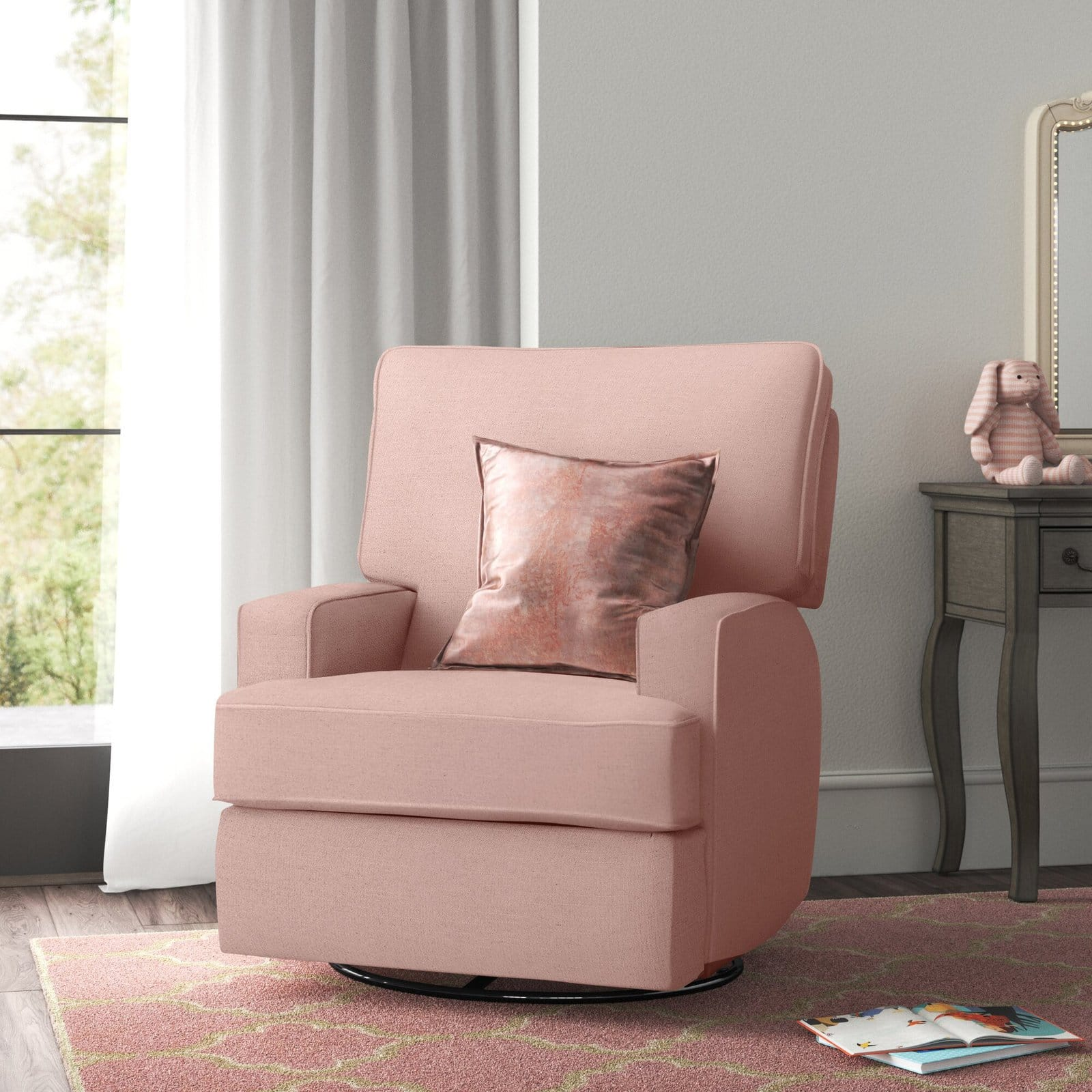 A Blush Reclining Chair for a Baby Girl's Nursery