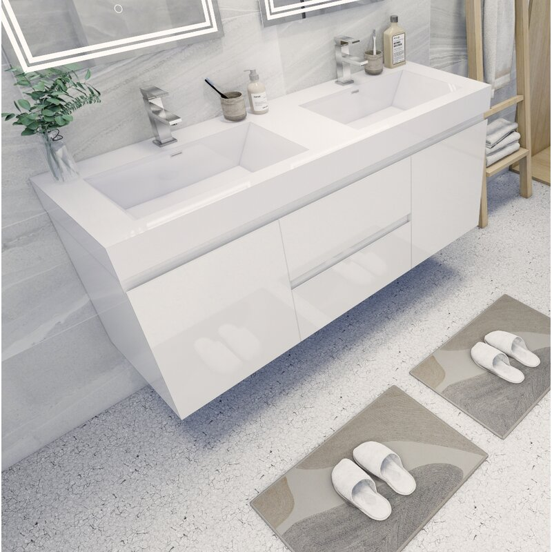 Save Space with Wall Mounted Double Vanities