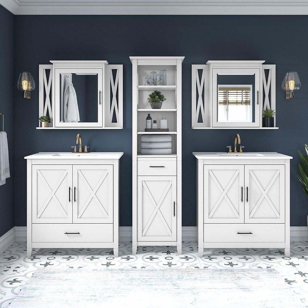 Separate Spaces with Storage Using Single Sink Vanities