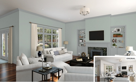 6 Living Room in Silvermist by Sherwin Williams