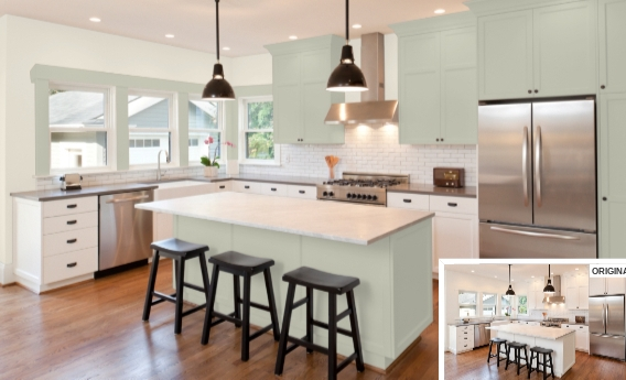 7 Cabinets in Liveable Green by Sherwin Williams