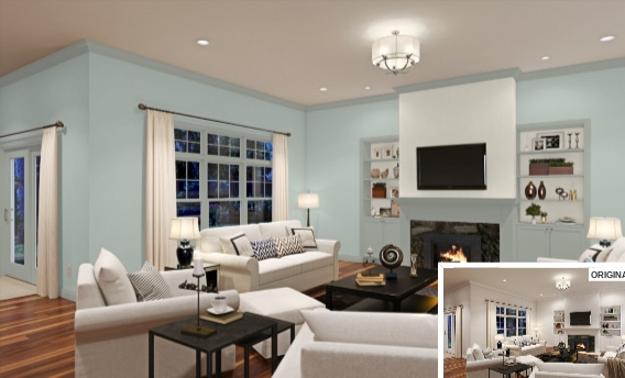 8 Living Room in Rainwashed by Sherwin Williams
